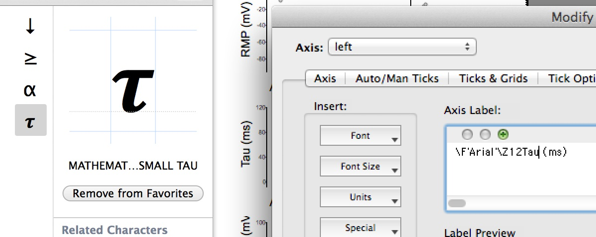 How To Insert The Character Tau In To The Axis Label