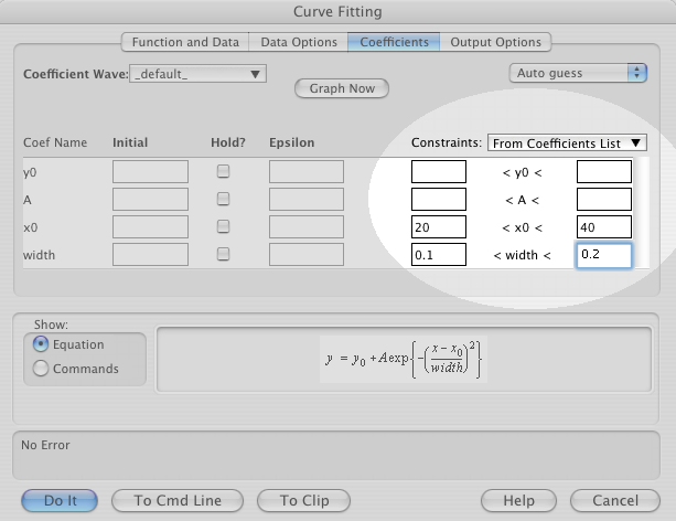 Curve Fit Dialog Screen Shot with Constraints Highlighted