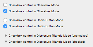 checkbox, radio, and disclosure button control examples