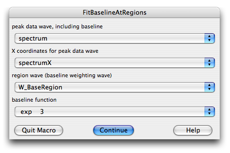 Fit Baseline At Regions dialog selecting an exponential fitting function