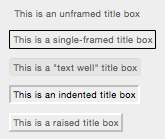 example title boxes, one plain and others with various styles of frame