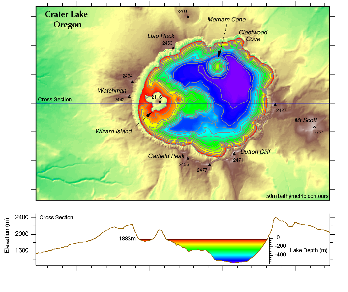 Crater Lake Topographic Map.Geospatial Analysis With Igor Pro