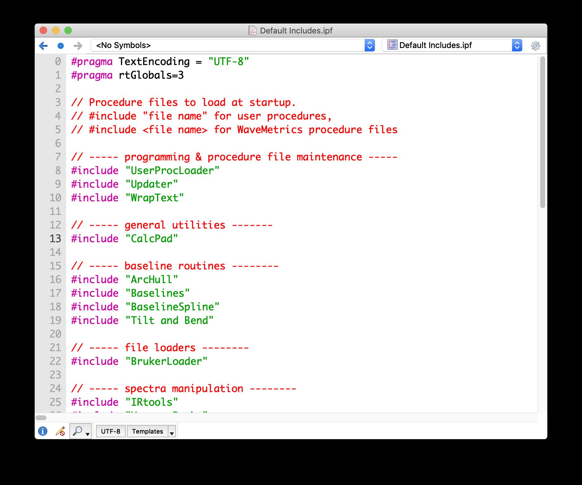 Default Includes screenshot